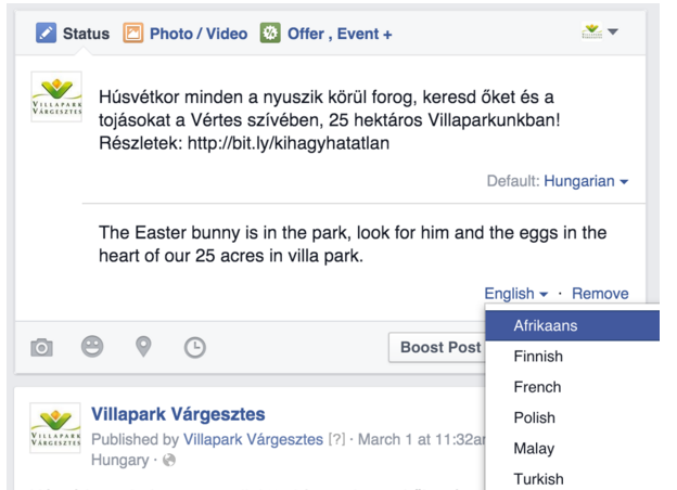 facebook multi language berichten
