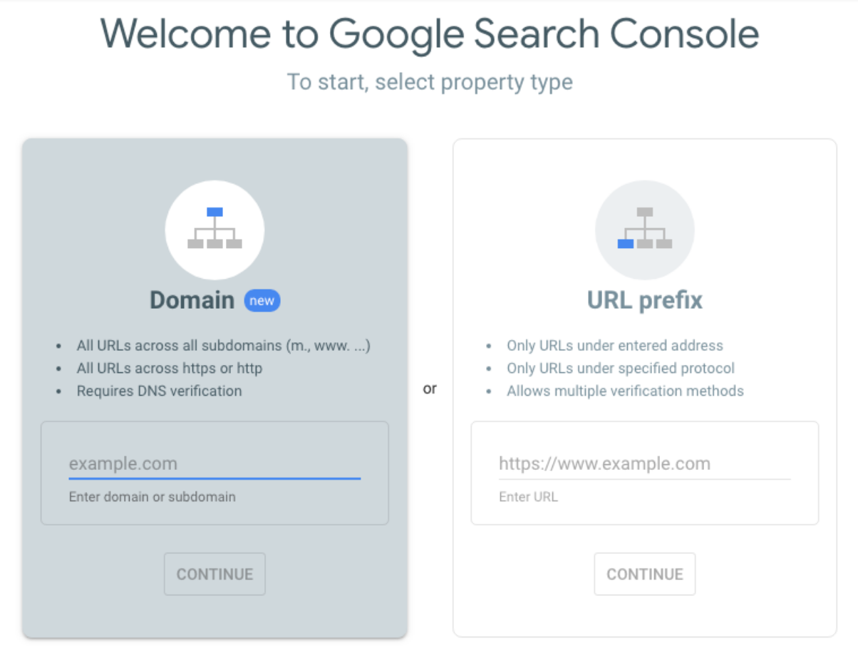 Inlogscherm Google Search Console
