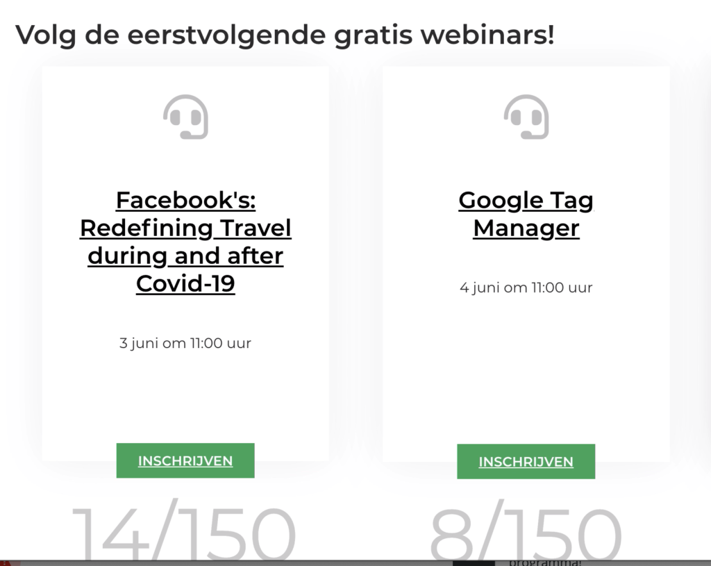 Screenshot van de comeback marketing webinars
