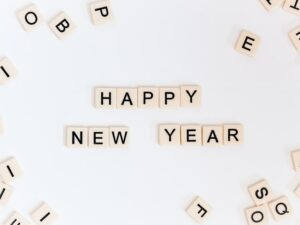 Happy New Year in scrabble letters.